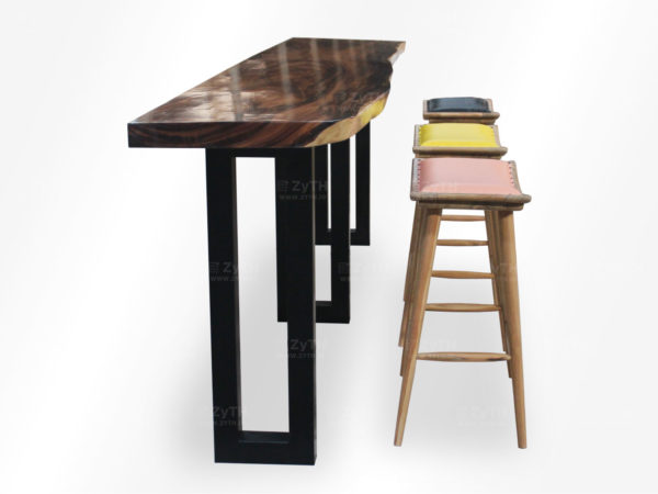 Set meja bar kayu suar kaki besi 3 bar stool